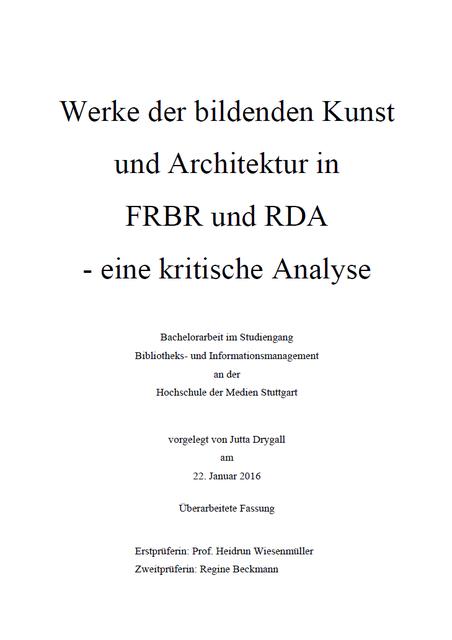 Die Bachelorarbeit von Jutta Drygall