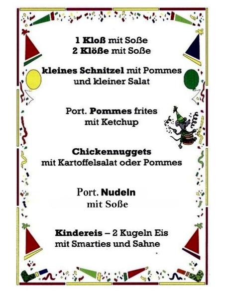 Kinderkarte Gasthof - Pension Entenmühle für eine große Ansicht anklicken. Guten Appetit