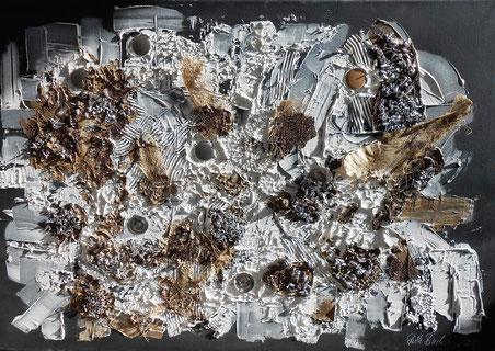 Bild: Geldlandschaft: 70 x 100 cm, auf Leinwand, Acryl-Mischtechnik, mit Metall