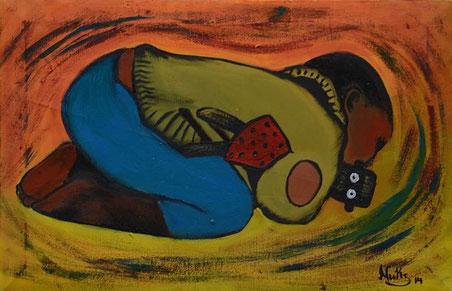 Kinder lieben NALA, gemalt in Acrylfarbe von Nukwase Tembo, Lusaka / Zambia