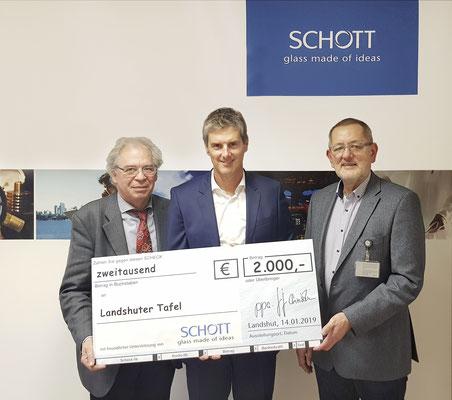 Holger Peters, Diakonie Landshut, Christian Geiger, Firma Schott, Hartmut Lindner, Tafel Landshut (v.l.n.r.)