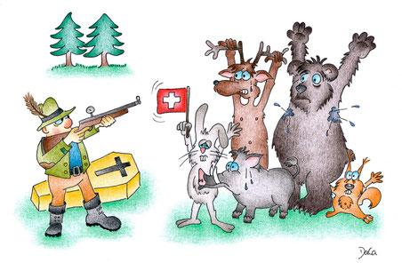 Grusskarten Jäger mit Wildtieren
