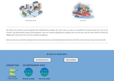 Capture d'écran du site inondation.net affichant le partenariat avec les CPIE.