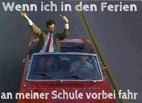 """Mr. Bean in einem Cabrio - """"Wenn ich in den Ferien an meiner Schule vorbeifahre"""