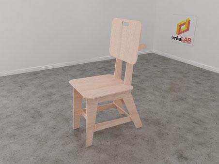 Chaise ou assise en bois à la découpe laser