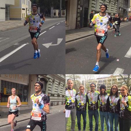Lukas Gärtner bei seinem Marathon-Debut in Linz (Fotocollage: privat)