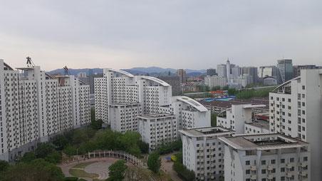 Blick aus dem Hotelzimmer in der 18. Etage