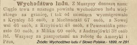 Wychodźtwo ludu Słowo Polskie 1899