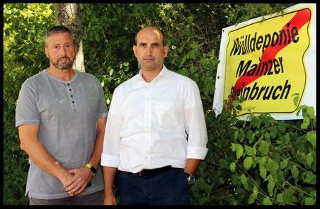 Antonio Sommese und Robert Kindl informierten die Presse am Rande des Steinbruchs. Foto: Helene Braun