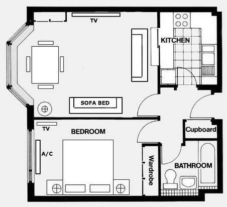 Marlyn Lodge - One Bedroom Layout