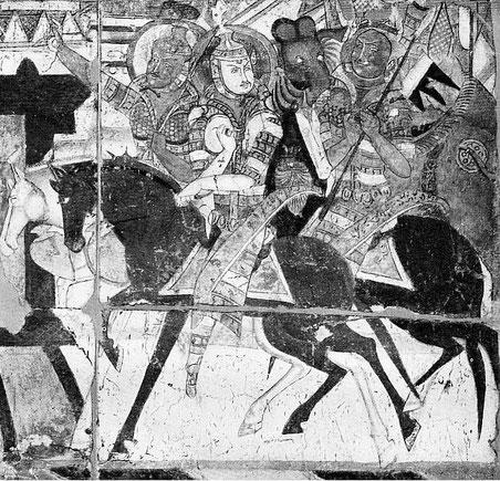 Peinture murale à Kïzïl.— Gisbert COMBAZ (1869-1941) : La peinture chinoise vue par un peintre occidental. —  Extrait des Mélanges chinois et bouddhiques, vol. VI. Imprimerie sainte Catherine, Bruges, 1939.