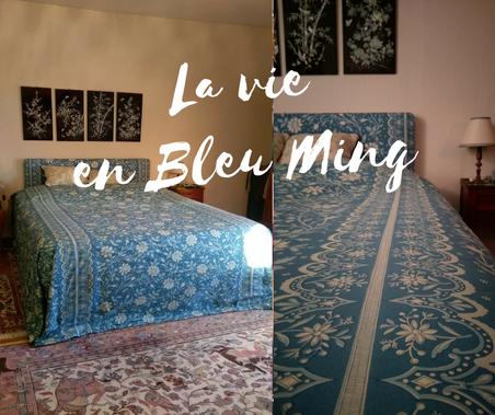 Confection sur-mesure d'un jeté de lit cassant au sol (300 cmX300 cm) - Tissu Le Manach - coloris Bleu Ming
