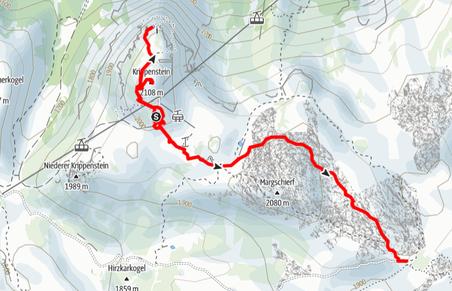 Route von der Dachstein Lodge über den Dachstein Hai zum Heilbronner Kreuz und retour zu den 5 Fingers und zum Krippenstein
