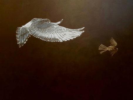 Vogelbildnis     1,40 x 1,00 m    Acryl auf Leinwand  /  acrylic on canvas