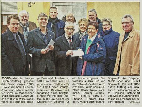 Spendenübergabe am 9.12.2014     Foto: Wilhelmshavener Zeitung