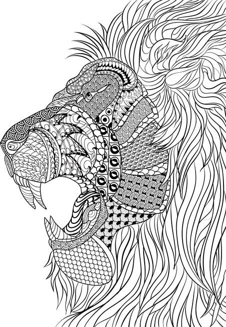 mandala de león complejo para adultos