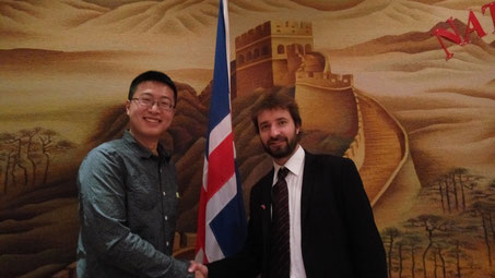 Yang Shu, PhD-candidate and David Finger at the Chinese embassy in Reykjavik