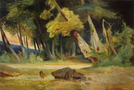 Waldlichtung, um 1837. Reproduktion nach Ausst. Kat. Berlin 1990, Carl Blechen zwischen Romantik und Realismus
