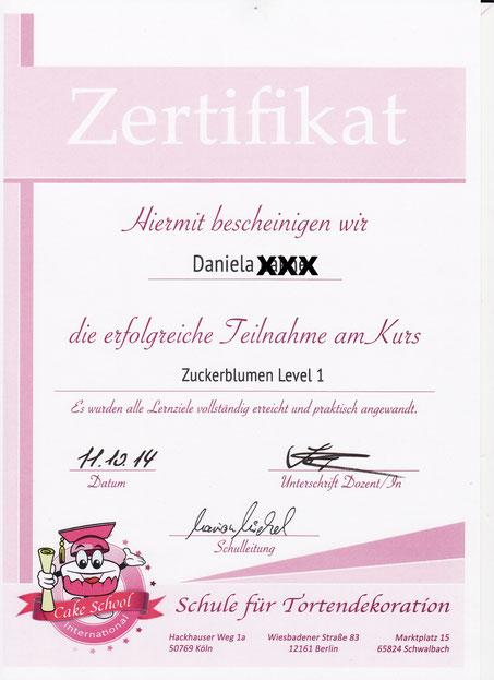 Zertifikat - Qualifikation für Blumen aus Blütenpaste