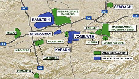 US-Militäranlagen in der Region Kaiserslautern/Ramstein- US-Army ...