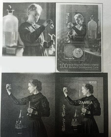 キュリー夫人の肖像画が色々な国で切手として発行されていることから、アイコンとしての女性科学者像に着目。本物と偽物を当てるクイズやそれぞれの国でのアレンジ切手を紹介してくれました。