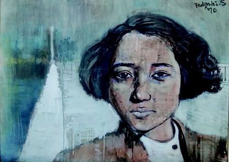 「無言の少女」60 号不透明水彩 1971 年24 回アンデパンダン展