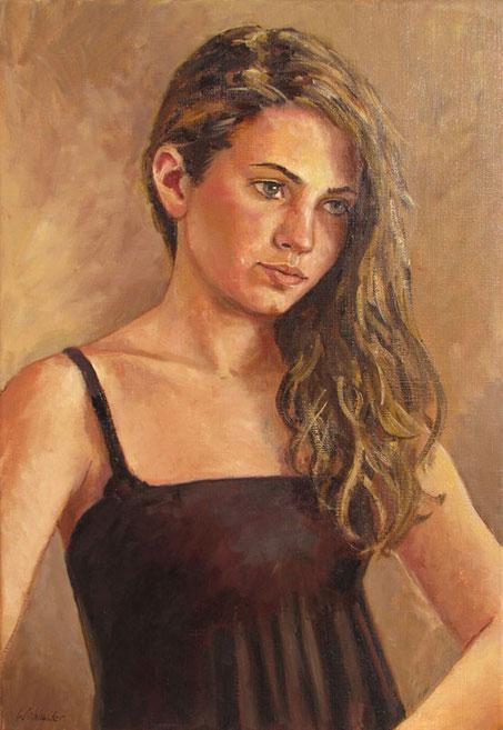 Tony Wahlander (Wåhlander) Jeune fille au long cheuveux brun épaule nue et débardeur noir.