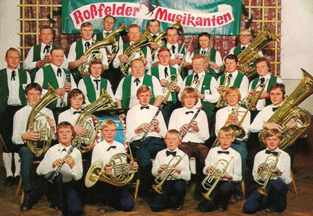 Bild der Roßfelder Musikanten im Jahr 1976