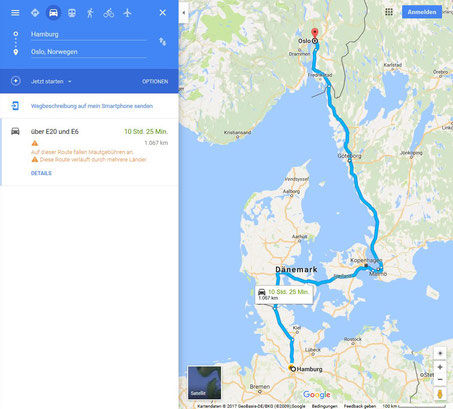 Map with route from Germany to Norway without ferry