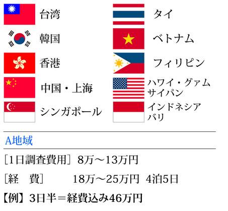 横浜 ダルタン調査事務所 海外調査 費用目安 A地区