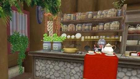 カウンター内には調味料、食材、食器、調理道具が並ぶ