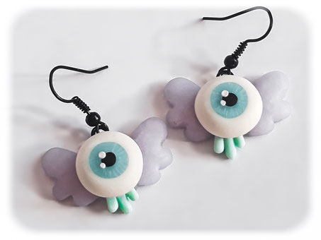Creepy Cute Flying Eye Earrings