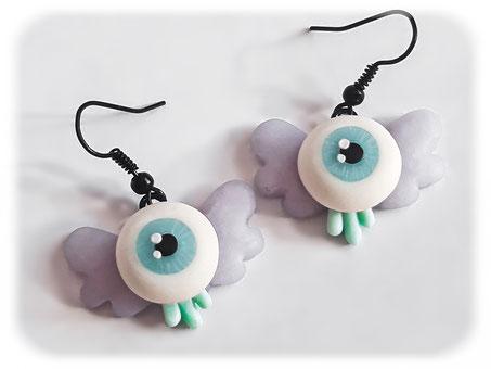 Creepy Cute Flying Eye Earrings