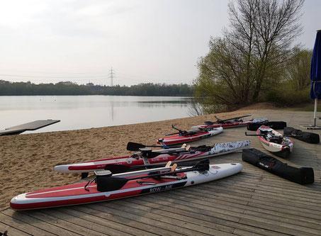 ROWonAIR Testrudern beim Neusser Ruderverein Boote Testfeld Vorbereitung