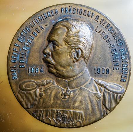 historische Medaille des Verbandes dt. Brieftauben-Liebhaber-Vereine, Karl von Alten-Linsingen, Präsident Verband deutscher Brieftaubenzüchter