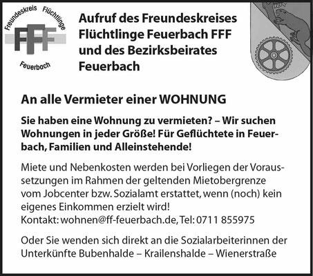 Thema Wohnraum Freundeskreis Flüchtlinge Feuerbach