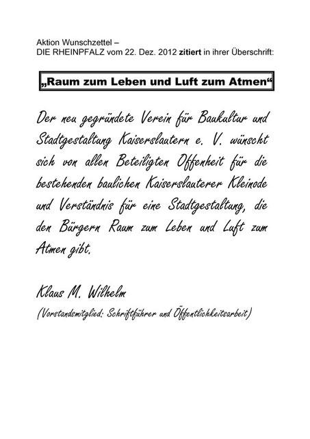 Verein für Baukultur und Stadtgestaltung Kaiserslautern - Wunschzettel