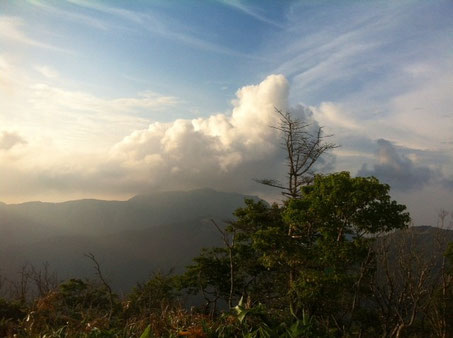 目指す三嶺も姿を現したけど嫌な雲が、、、向こうは降ってるっぽいし、強行しないで良かった。。。    PM6:30お腹もすいてきたのでクッキングタイムに、、と言ってもレトルトを温めるだけ。 本日のディナーはハッシュドビーフ♪ ご飯の容器はきれいに拭いて明日の朝食のプレートにします、、、皆さんまねしましょ~(笑) 少しでも重さ、スペースを軽減できますよ!