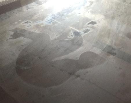 Beschlagenes Bilderglas, Strukturen des Bildes sind auf dem Gals schön abgezeichnet