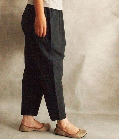 ヂェン先生の日常着 シンプルパンツ 薄手 台湾 チャコールグレー 横イメージ