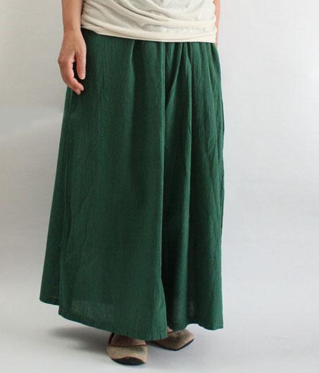 ヂェン先生の日常着 ワイドパンツ薄手 Lサイズ グリーン
