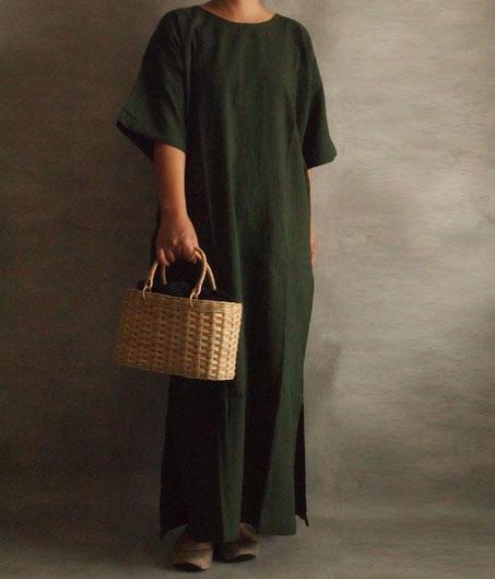 ヂェン先生の日常着 半袖ワンピース イメージ moily かごバッグ フロシキ カンボジア 台湾