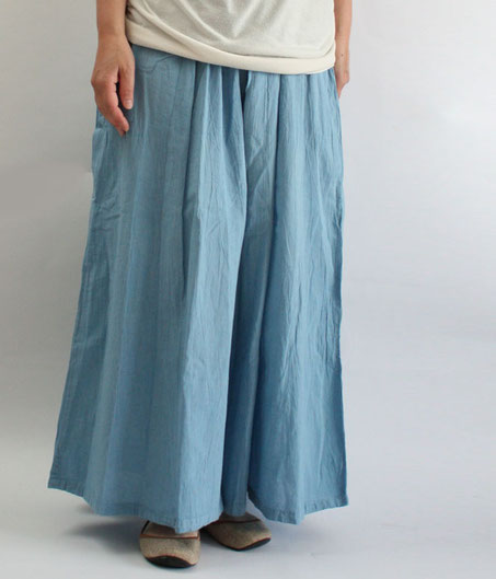 ヂェン先生の日常着 ワイドパンツ薄手 Lサイズ ライトブルー