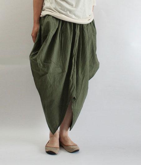 ヂェン先生の日常着 ツノスカート カーキ
