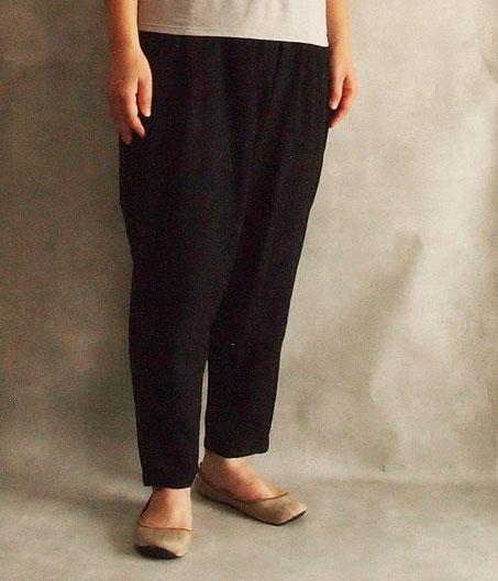 ヂェン先生の日常着 シンプルパンツ 薄手 台湾 ブラック イメージ