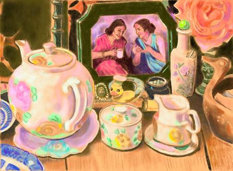 "11.  ""Chatting Over Tea"""