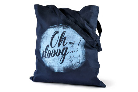 hundestrand Baumwolltasche blau Hund Spruch Siebdruck