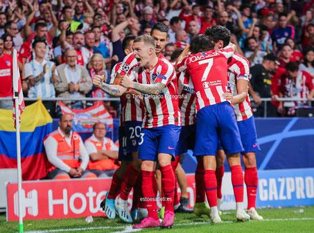 champions league, uefa, trippier, gol, celebracion, atletico de madrid, juvenus, wanda metropolitano