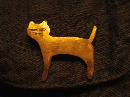 猫さん 真鍮ブローチ 京都手作り市にて販売します