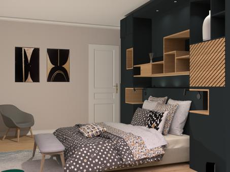 Tête de lit sur mesure, aménagement intérieur, menuiserie, Hague Blue Farrow&Ball, architecture d'intérieur, Reims